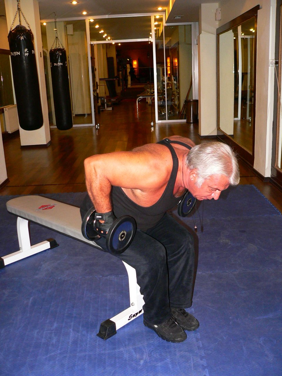 Seated Bent Over Two Arm Dumbbell Triceps Kick Back