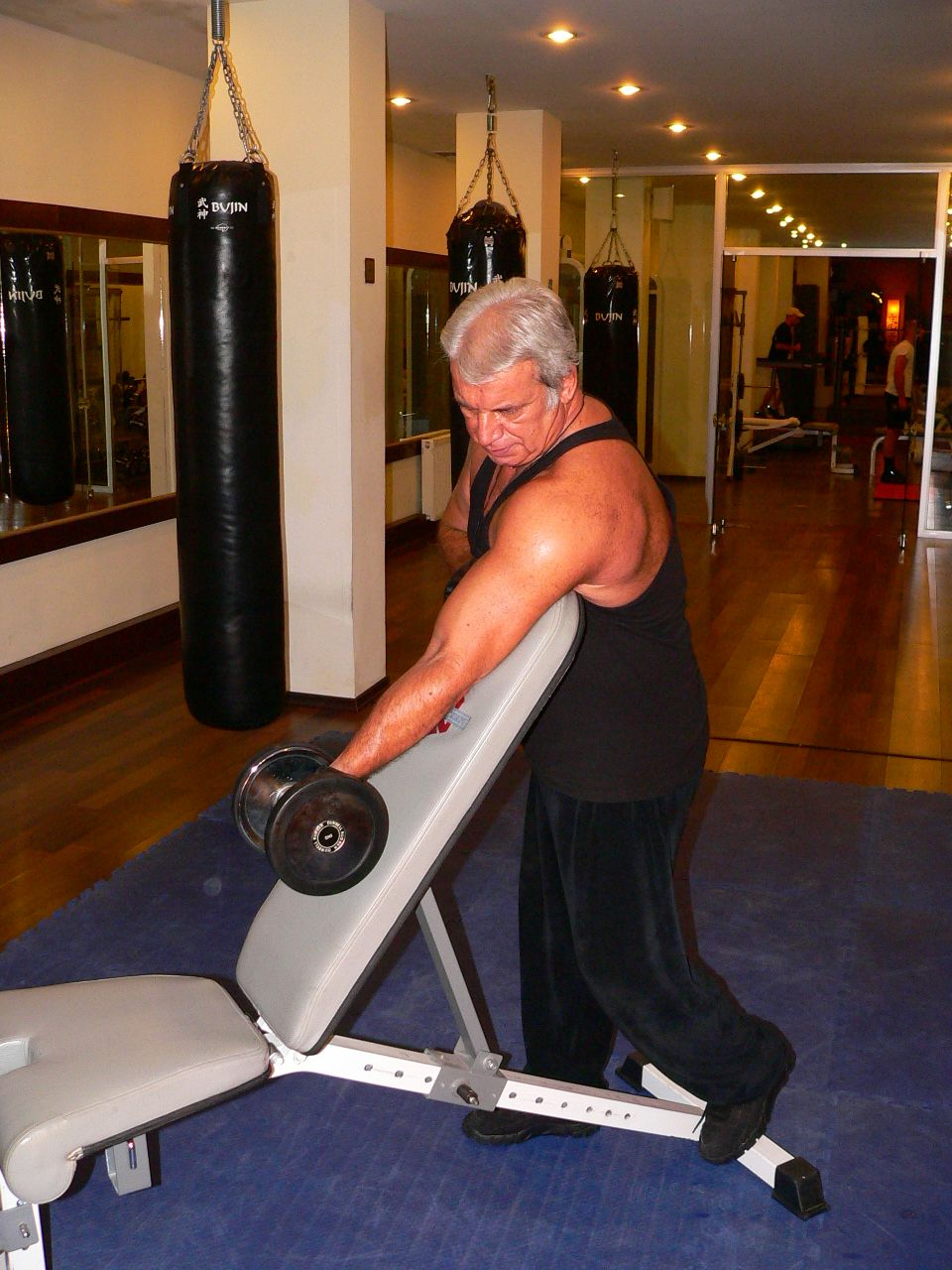Standing One Arm Dumbbell Curl Over Incline Bench