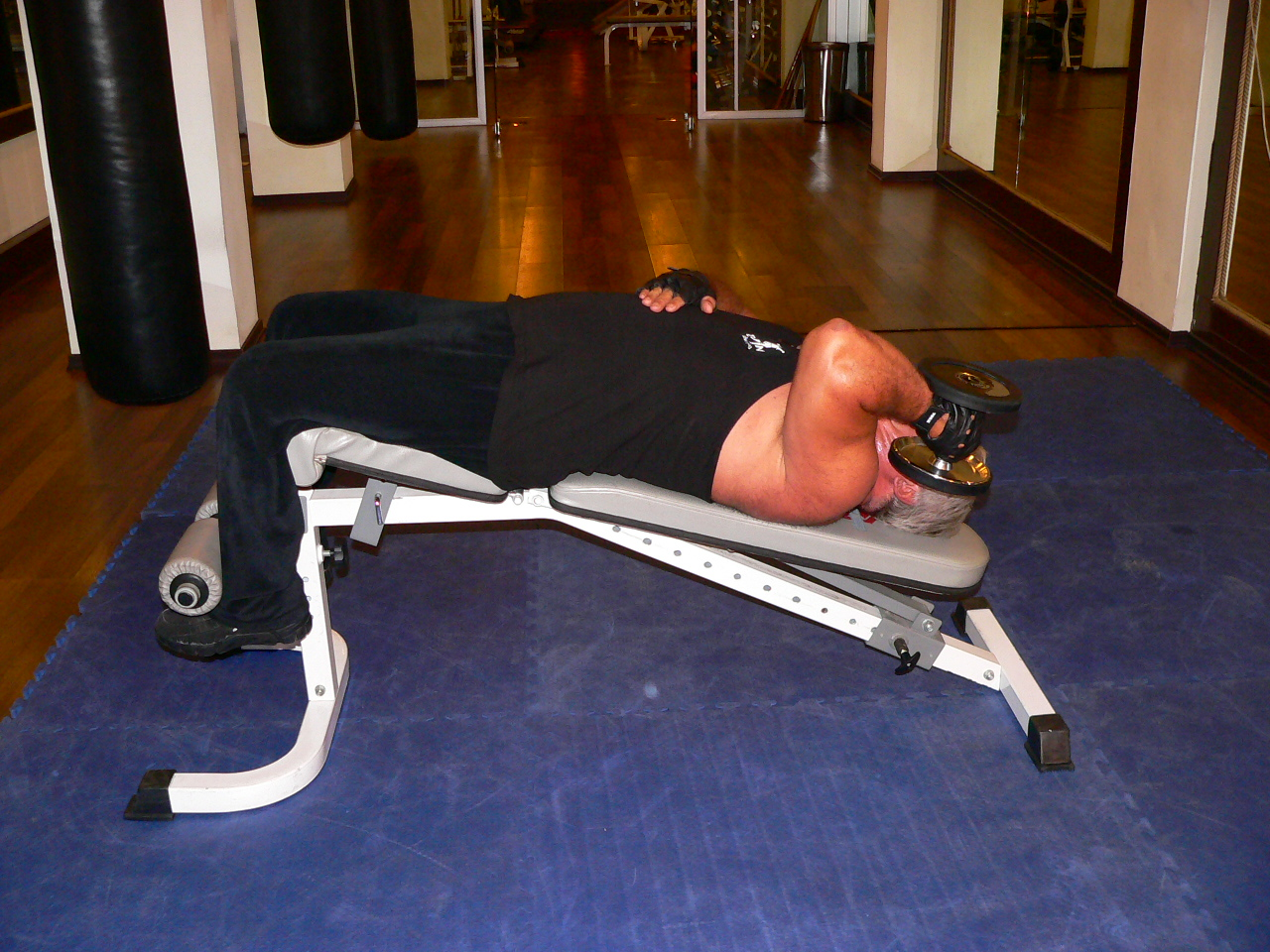 Decline One Arm Supinated Dumbbell Triceps Extension