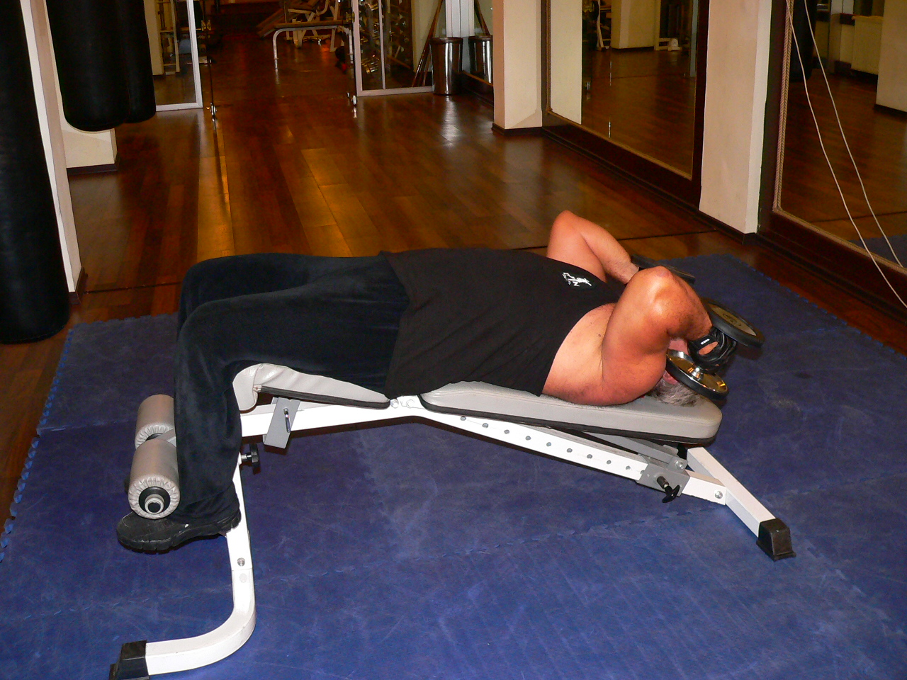 Decline Two Arm Supinated Dumbbell Triceps Extension