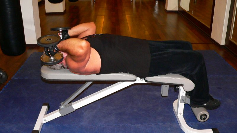 Lying Supine Two Arm Dumbbell Triceps Extension