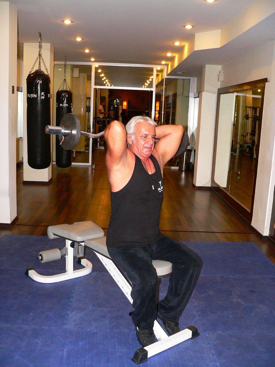 Seated Overhead Barbell Triceps Extension